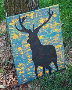 Teal, Orange, Deer Silhouette, Painting, Distressed Canvas, Canvas Art. $24.00, via Etsy.