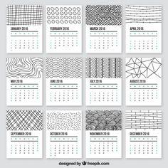 2016 calendrier dans le style doodle Vecteur gratuit