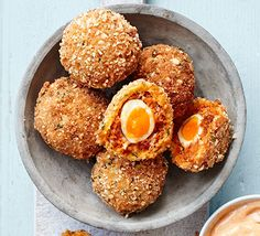 Chorizo Scotch quail's eggs Upgrade this picnic family favourite with a tangy chorizo and blanched almond shell, covering perfectly soft-set yolks Bbc Good Food Recipes, Egg Recipes, Dinner Recipes, Healthy Recipes, Chorizo Recipes, Easter Recipes, Healthy Food, Cooking Recipes, Sin Gluten