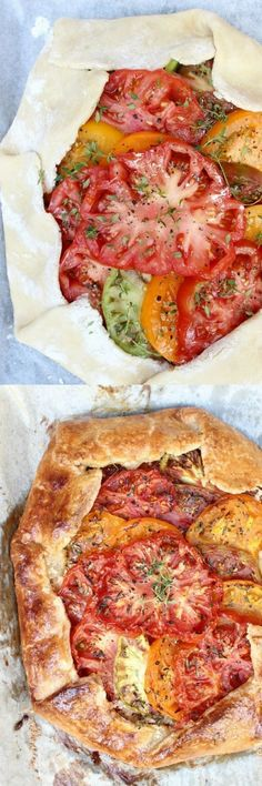 The best way to use your tomato surplus, Heirloom Tomato Galette w/ Honeyed Goat Cheese, Caramelized Shallots, & Fresh Thyme is as tasty as it is stunning! Enjoy for brunch, dinner or serve as a party appetizer. Everyone loves this recipe! Vegetable Recipes, Vegetarian Recipes, Cooking Recipes, Healthy Recipes, Fresh Tomato Recipes, Baked Tomato Recipes, Detox Recipes, Recipes For Tomatoes, Garden Tomato Recipes