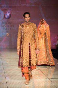 Tarun Tahiliani sherwani for India Bridal Fashion Week 2014 Tarun Tahiliani, Groom Wear, Groom Outfit, Groom Dress, Indian Tops, Indian Ethnic, Mens Ethnic Wear, Wedding Sherwani, Sherwani Groom