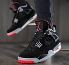 "Air Jordan 4 ""Bred"" Black Gray Red Shoes Order shoes get 1 free jersey now, email to get it. Jordan Shoes Girls, Air Jordan Shoes, Girls Shoes, Michael Jordan Shoes, Air Jordan Retro, Retro Jordan Shoes, Sneakers Mode, Sneakers Fashion, Black Shoes Sneakers"