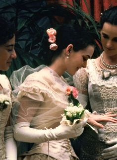 """May Welland's (actress Winona Ryder) bouquet of Lily of the Valley in the 1993 movie, """"The Age of Innocence"""". ~ {cwl}"""