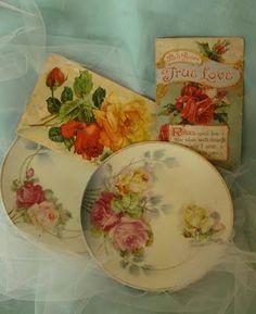 Vintage Rose Postcards & Plates