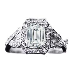 Emerald Cut Diamond twisted Band Engagement Ring 0.72 tcw. In 14K White Gold