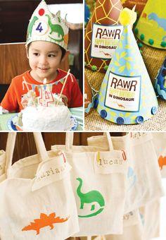 "Fantastic ""Rawr Your World"" Dinosaur Birthday Party--cute dinosaur stencil favor bags"