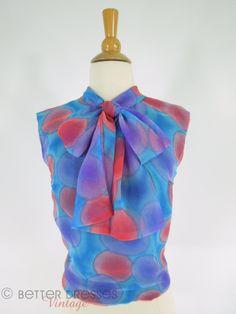 60s Watercolor Chiffon Shell - sm