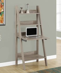 This multi-functional computer desk/bookcase offer a compact work space that is ideal for apartments, condos, or small homes. With clean lines in a rich finish, this computer desk/bookcase will blend easily with your home decor. Ladder Desk, Ladder Bookcase, Bookcase Wall, Bookshelf Design, Bookshelves, Home Office Furniture, Diy Furniture, Leaning Desk, Leaning Ladder