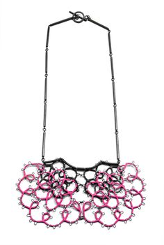 Pink Steel Lace Necklace by Sarah Holden