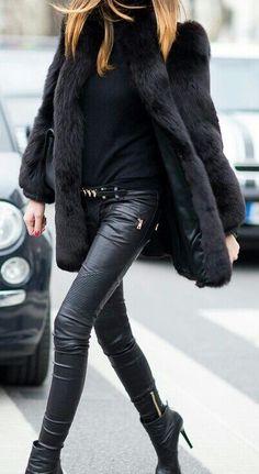 black faux fur coat jacket black leather pants