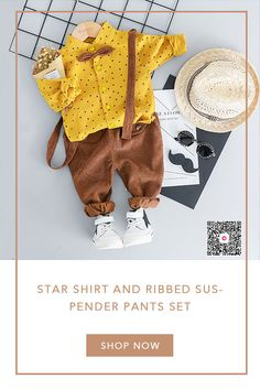 Star Shirt and Ribbed Suspender Pants Set - braids Toddler Boy Outfits, Baby Kids Clothes, Toddler Boys, Kids Outfits, Baby Boy Fashion, Toddler Fashion, Kids Fashion, Suspender Pants, Stylish Clothes
