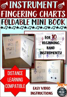 This beginning band resource is a must have for band directors and young musicians! Students will enjoy this foldable fingering chart that helps them learn the first seven notes on their instruments. This resource includes books for flute, clarinet, alto and tenor saxophone, trumpet, trombone, tuba, and mallet instruments. Music Education, Music Teachers, Music Class, Music Mix, Elementary Music, Elementary Teacher, Trombone, Clarinet, Saxophone