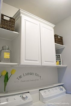 This is our small closet Laundry Room Makeover - Cabinet and Open Shelves for or. This is our small closet Laundry Room Makeover – Cabinet and Open Shelves for organization and storage in light grey and yellow color scheme.