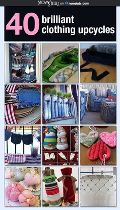 Don't throw away those old jeans (or that sweater filled with holes)! Here's 42 mind blowing ways to reuse your old clothing.