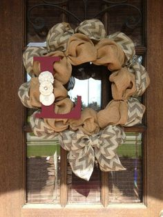 Chevron Burlap Initial Wreath by AmericanHoney2012 on Etsy, $75.00