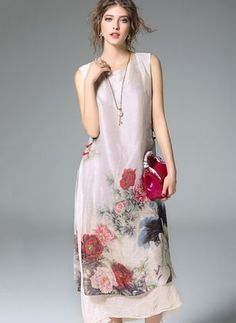 Linen Floral Sleeveless Mid-Calf Vintage Dresses (1026946) @ floryday.com