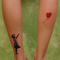 Little tattoo in the legs of a Banksy artwork.