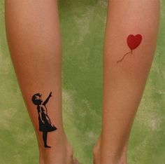 i like this .. but maybe on forearm - and the string of the balloon ... let it go...