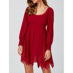 Casual U Neck Mini Handckerchief Dress