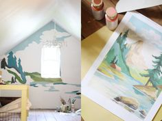 i totally want to do this in my future house. paint by numbers mural!