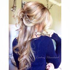 Half up half down - soft curls - bridesmaid hair - long hair styles dark blonde light brown @hairby_lindsayblanchard