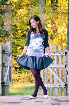 Halloween Outfit - Skull Tie Dye Shirt - ModCloth Skirt & Tights