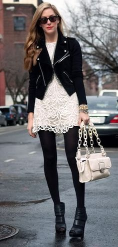 black jacket with cream lace dress