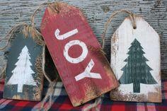 Joy Christmas Tree Distressed Rustic Wood Tag Sign Set by TheUnpolishedBarn Christmas Wood Crafts, Farmhouse Christmas Decor, Primitive Christmas, Christmas Signs, Homemade Christmas, Christmas Projects, Fall Crafts, Country Christmas, Christmas Tree Ornaments