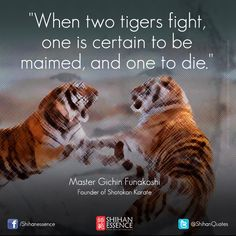 When two tigers fight, one is certain to be maimed, and other one to die