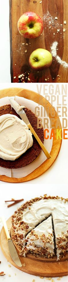 AMAZING, moist, spiced Vegan Apple Gingerbread Cake made in 1 BOWL with Whole Wheat Flour! #vegan