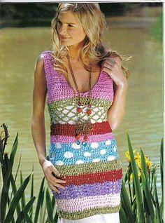 Multicolor Multipattern Dress free crochet graph pattern