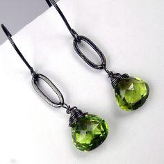 Peridot Earrings Wire Wrapped Oxidized Silver by DoolittleJewelry