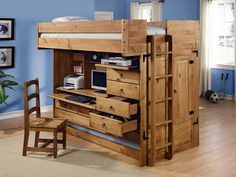 Kids Loft Bed with Study Area Storage Drawers Design