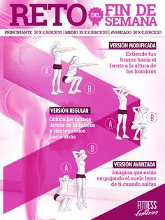 ¿Te atreves con el resto Fitness en Femenino este fin de semana?   Se trata de un circuito de 3 variantes de sentadillas. En función de tu nivel físico, escoge la cantidad de repeticiones de cada uno, e intenta completarlo en el menor tiempo posible.   En sus marcas, listos, yaaaa!