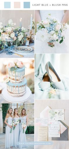 Top 6 Light Blue Wedding Color Palette Ideas for Spring Summer Wedding Lavender Wedding Colors, Elegant Wedding Colors, Pastel Wedding Colors, Blue And Blush Wedding, Popular Wedding Colors, Summer Wedding Colors, Blush Pink, Spring Wedding, Trendy Wedding