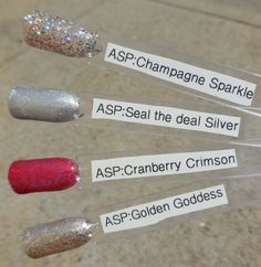 ASP Champagne sparkle, seal the deal silver, cranberry Crimson, and golden goddess Asp Gel Polish, Gel Polish Colors, Red Carpet Manicure, Beauty Hacks, Beauty Tips, Mani Pedi, Opi, My Nails, Swatch
