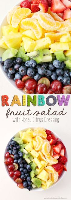 This Rainbow Fruit Salad with Honey Citrus Dressing is a great addition to breakfast or it makes a healthy snack idea any time! Easy to make ahead and enjoy all week!