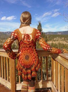 Bohemian crochet pullover/dressautumn by aMandalaCreations on Etsy, $100.00