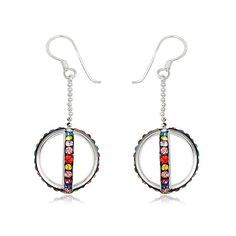 Tentation Crystals from Swarovski Earrings, Silver/Multicolored   ACHICA