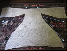 Repurpose a lace table cloth or curtain. Fold in half, cut neckline and shape waist.