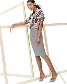 Secretary blouse in Italian silk, No. 2 Pencil skirt in double-serge wool and the Valentina patent D'Orsay pumps @J.Crew