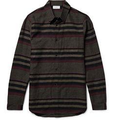 JOHN ELLIOTT Slim-Fit Striped Virgin Wool Shirt