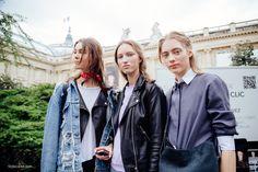 Models travel in packs of three. Wear mostly black, prefer motorcycle jackets and denim like  Irina Shnitman, Liza Ostanina and Odette Pavlova.