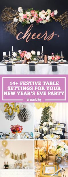 Ring in the new year with a dinner that shines. You'll love these ways to set a festive New Year's Eve dinner table. Your party guests will be in awe of your beautiful table design. Make your house festive for the new year! New Years Eve Dinner, New Years Eve Party, New Year Table, New Year Celebration, Party Guests, Event Decor, Festive, Dinner Table, Holiday Decorations