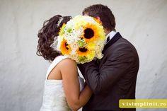 buchet mireasa galben, buchet mireasa floarea soarelui,