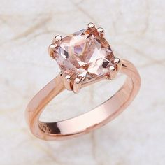 Engagement Ring with Cushion Morganite set in 14K Rose Gold