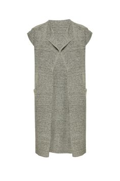 Short sleeved knitted waistcoat with pockets. Fit loose intended. Ribbed hem line. This knited waistcoat is great for the autumn months - throw over your favourite tee and skinny jeans for chic weekend style!  Merci Waistcoat by ICHI. Clothing - Sweaters - Cardigans Bromley South London London