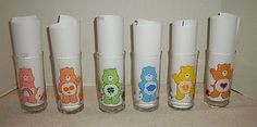1983 Care Bear Pizza Hut Limited Edition Glasses/Tumblers Complete Set of 6 #PizzaHutAmericanGreetingsCorp
