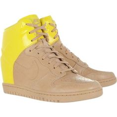 Pre-owned Nike Dunk Sky Hi Beige/yellow Athletic Shoes ($113) ❤ liked on Polyvore featuring shoes, nike shoes, fluorescent yellow shoes, laced up shoes, laced shoes and nike footwear