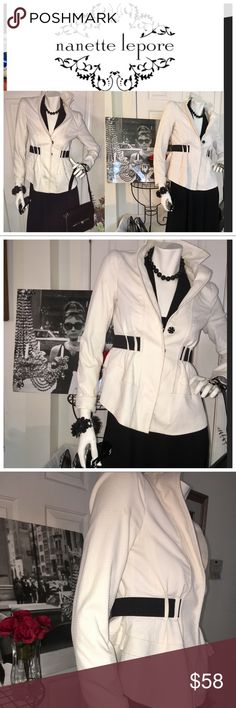 Nanette Lepore ivory & black blazer size 2 Check out this  blazer by Nanette Lepore. The black trim gives the blazer an updated and sassy look. It is gently worn and no issues to report. Please ask questions Nanette Lepore Jackets & Coats Blazers